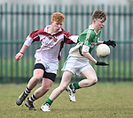 Cian Shannon of  Ennistymon CBS  in action against Conor Burns of  St Declan's Kilmacthomas during their Munster C Colleges football final at Rathkeale. Photograph by John Kelly.