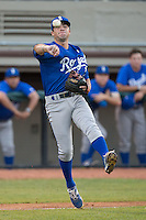 Burlington Royals third baseman Trey Stover (11) makes a throw to first base against the Bristol Pirates at Boyce Cox Field on July 10, 2015 in Bristol, Virginia.  The Pirates defeated the Royals 9-4. (Brian Westerholt/Four Seam Images)
