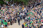 Aug. 30, 2014; The football team walks to the stadium..Photo by Matt Cashore/University of Notre Dame