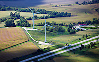 aerial photograph of wind turbines western Illinois