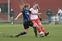 Noa Delhaye (12) of Zulte-Waregem and Elle Decorte (7) of Club Brugge  pictured during a female soccer game between SV Zulte - Waregem and Club Brugge YLA on the 13 th matchday of the 2020 - 2021 season of Belgian Scooore Womens Super League , saturday 6 th of February 2021  in Zulte , Belgium . PHOTO SPORTPIX.BE   SPP   DIRK VUYLSTEKE