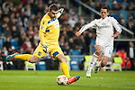Chicharrito of Real Madrid and Stoyanov of Ludogorets during Champions League match between Real Madrid and Ludogorets at Santiago Bernabeu Stadium in Madrid, Spain. December 09, 2014. (ALTERPHOTOS/Luis Fernandez)
