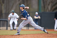 Akron Zips starting pitcher Jon Pusateri (25) delivers a pitch to the plate against the Charlotte 49ers at Hayes Stadium on February 22, 2015 in Charlotte, North Carolina.  The Zips defeated the 49ers 5-4.  (Brian Westerholt/Four Seam Images)