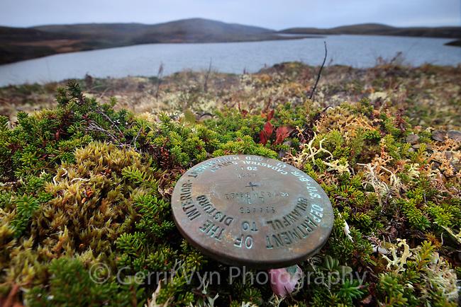 BLM road survey marker in the Izembek Wilderness.