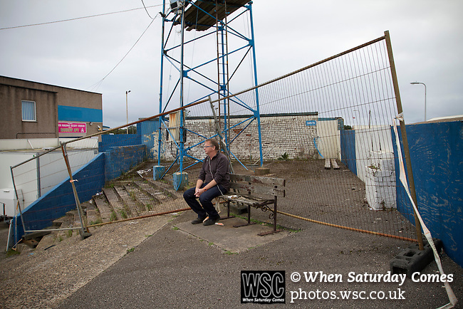 Barrow AFC 0 Newport County 3, 15/09/2012. Furness Building Society Stadium, Football Conference. A solitary home supporter watching the action from the terracing at Barrow AFC's Furness Building Society Stadium during the Barrow (white shirts) v Newport County Conference National Fixture. Newport County eventually won the match by 3-0, watched by 802 spectators. Both Barrow and Newport County from Wales were former members of the Football League in England. Photo by Colin McPherson.