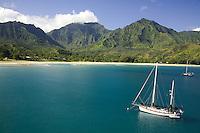 Sailboat in beautiful Hanalei Bay, Kauai