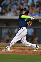 Shortstop Michael Paez (3) of the Columbia Fireflies bats in a game against the Lexington Legends on Friday, April 21, 2017, at Spirit Communications Park in Columbia, South Carolina. Columbia won, 5-0. (Tom Priddy/Four Seam Images)