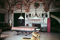 The billiards room at The Breakers. Marble and alabaster decoration, Newport, R.I. Vanderbilt Mansion