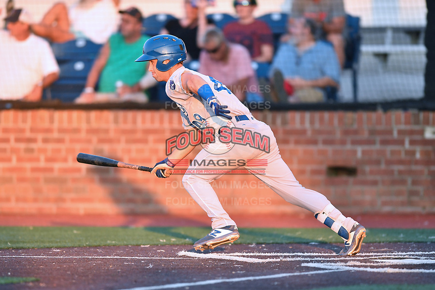 Johnson City Cardinals Jack Gethings (49) runs to first base during game one of the Appalachian League Championship Series against the Burlington Royals at TVA Credit Union Ballpark on September 2, 2019 in Johnson City, Tennessee. The Royals defeated the Cardinals 9-2 to take the series lead 1-0. (Tony Farlow/Four Seam Images)