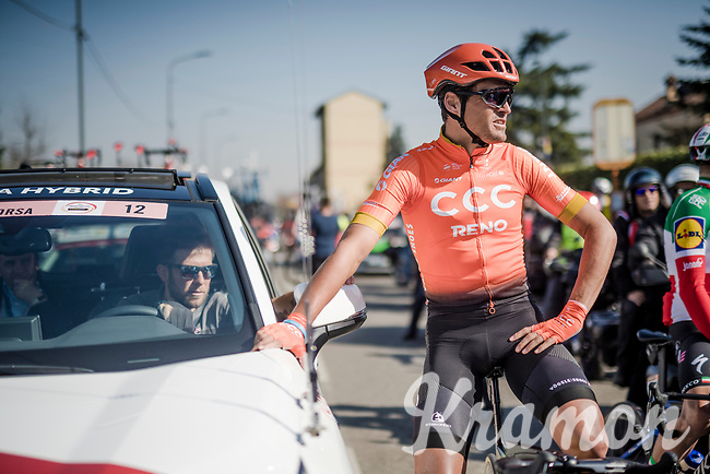 Greg VAN AVERMAET (BEL/CCC) enjoying a short stop at the actual start (km 0) of the 110th Milano-Sanremo 2019 (ITA)<br /> One day race from Milano to Sanremo (291km)<br /> <br /> ©kramon