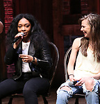 "Jennie Harney and Eliza Ohman from the 'Hamilton' cast during a Q & A before The Rockefeller Foundation and The Gilder Lehrman Institute of American History sponsored High School student #EduHam matinee performance of ""Hamilton"" at the Richard Rodgers Theatre on June 6, 2018 in New York City."