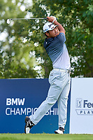 OLYMPIA FIELDS, IL - AUGUST 29: Hideki Matsuyama of Japan hits his tee shot at the 16th hole during the third round of the BMW Championship at Olympia Fields Country Club (North)