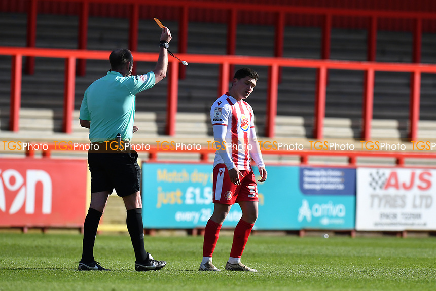Mathew Stevens of Stevenage FC Receives a Yellow Card during Stevenage vs Bradford City, Sky Bet EFL League 2 Football at the Lamex Stadium on 5th April 2021