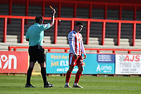 Mathew Stevens of Stevenage FC Receives a Yellow Card during Stevenage vs Bradford City, Sky Bet EFL League 2 Football at the Lamex Stadium on 5th April 2021