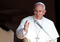 Papa Francesco parla ai fedeli durante la recita l'Angelus dall'ingresso della residenza estiva di Castel Gandolfo, 14  luglio 2013.<br /> Pope Francis speaks to faithful during the Angelus prayer from the entrance of his summer residence in Castel Gandolfo, on the outskirts of Rome, 14 July 2013.<br /> UPDATE IMAGES PRESS/Riccardo De Luca<br /> <br /> STRICTLY ONLY FOR EDITORIAL USE