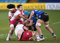 6th February 2021; Recreation Ground, Bath, Somerset, England; English Premiership Rugby, Bath versus Harlequins; Danny Care of Harlequins tackles Zach Mercer of Bath