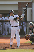 Coastal Carolina Chanticleers infielder Rich Witten #21 at bat during a game against the University of Pittsburgh Panthers at Watson Stadium at Vrooman Field on March 2, 2012 in Conway, SC.  Pittsburgh defeated Coastal Carolina 3-1. (Robert Gurganus/Four Seam Images)