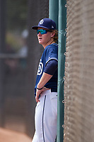 Blake Hunt (12) of the San Diego Padres during an Instructional League game against the Chicago White Sox on September 26, 2017 at Camelback Ranch in Glendale, Arizona. (Zachary Lucy/Four Seam Images)