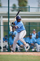 Tampa Bay Rays right fielder Moises Gomez (70) at bat during an Instructional League game against the Pittsburgh Pirates on October 3, 2017 at Pirate City in Bradenton, Florida.  (Mike Janes/Four Seam Images)