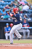 Hagerstown Suns first baseman Grant DeBruin (27) swings at a pitch during a game against the  Asheville Tourists at McCormick Field on September 2, 2016 in Asheville, North Carolina. The Suns defeated the Tourists 5-1. (Tony Farlow/Four Seam Images)
