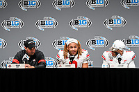 Indianapolis, IN - DEC 7, 2019: Ohio State Buckeyes head coach Ryan Day, Ohio State Buckeyes defensive end Chase Young (2) and Ohio State Buckeyes quarterback Justin Fields (1) address the media after winning the Big Ten Championship game between Wisconsin and Ohio State at Lucas Oil Stadium in Indianapolis, IN. Ohio State came back from a 21-7 deficit at halftime to beat Wisconsin 34-21 to win its third straight Big Ten Championship. (Photo by Phillip Peters/Media Images International)