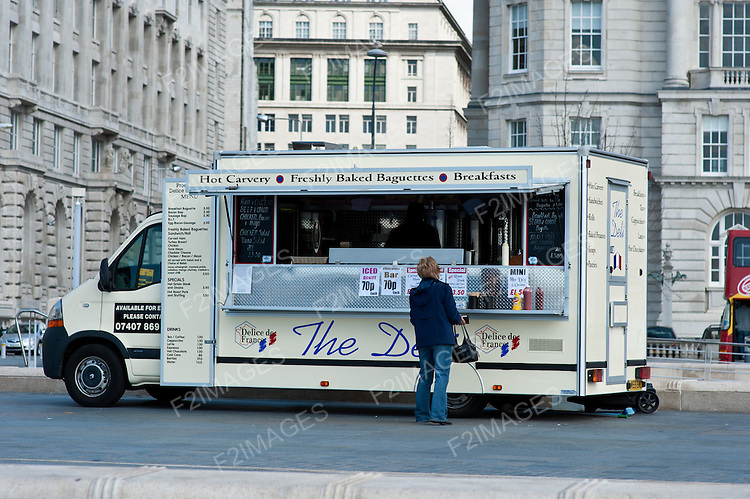 A mobile fast food van in the Pier Head area of Liverpool