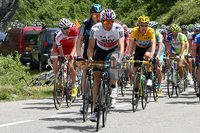The main group of GC contenders led by Edvald Boasson Hagen (NOR) and Sky Procycling climb during Stage 11 of the 99th edition of the Tour de France 2012, running 148km from Albertville to La Toussuire Les Sybelles, France. 12th July 2012.<br /> (Photo by Thomas van Bracht/NEWSFILE)