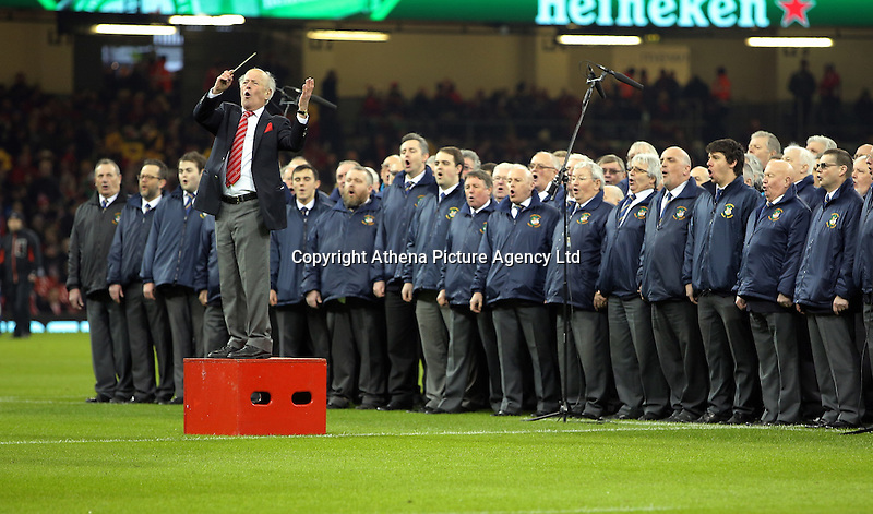 The choir before the RBS 6 Nations Championship rugby game between Wales and Scotland at the Principality Stadium, Cardiff, Wales, UK Saturday 13 February 2016
