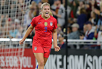 Saint Paul, MN - SEPTEMBER 03: Lindsey Horan #9 of the United States scores and celebrates during their 2019 Victory Tour match versus Portugal at Allianz Field, on September 03, 2019 in Saint Paul, Minnesota.