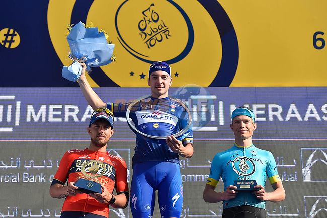 Race leader Elia Viviani (ITA) Quick-Step Floors wins overall with Magnus Cort Nielsen (DEN) Astana Pro Team in 2nd place and Sonny Colbrelli (ITA) Bahrain-Merida 3rd at the end of Stage 5 The Meraas Stage final stage of the Dubai Tour 2018 the Dubai Tour's 5th edition, running 132km from Skydive Dubai to City Walk, Dubai, United Arab Emirates. 10th February 2018.<br /> Picture: LaPresse/Fabio Ferrari | Cyclefile<br /> <br /> <br /> All photos usage must carry mandatory copyright credit (© Cyclefile | LaPresse/Fabio Ferrari)