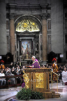 Pope Francis during the penitential celebration in St. Peter's Basilica at the Vatican, March 13, 2015.