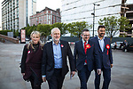 © Joel Goodman - 07973 332324 . 05/05/2017. Manchester, UK.  REBECCA LONG-BAILEY , Labour Party Leader JEREMY CORBYN , ANDREW GWYNNE and AFZAL KHAN arrive in Manchester following Andy Burnham's victory in the Manchester Metro mayoralty campaign , for a Momentum Rally on the steps of the Manchester Convention Centre . Andy Burnham did not attend . Photo credit : Joel Goodman