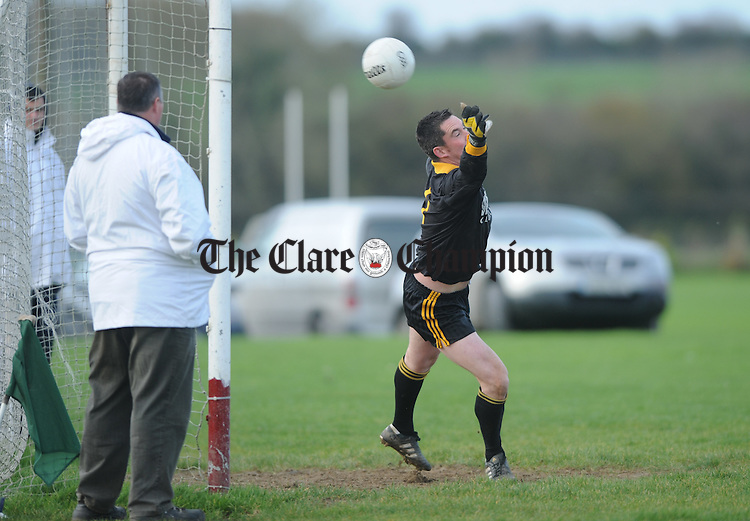 Clonlara goalie Alan O Connell fails to block a penalty kick in action against  Clondegad during the Junior B Football final at Gurteen. Photograph by John Kelly.