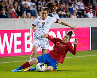 HOUSTON, TX - FEBRUARY 03: Kelley O'hara #5 of the USA is challenged by Jazmin Elizondo #19 of Costa Rica during a game between Costa Rica and USWNT at BBVA Stadium on February 03, 2020 in Houston, Texas.