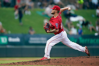 Starting pitcher Chase Shugart (12) of the Greenville Drive in a game against the Rome Braves on Friday, August 6, 2021, at Fluor Field at the West End in Greenville, South Carolina. (Tom Priddy/Four Seam Images)