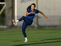 KASHIMA, JAPAN - AUGUST 4: Christen Press #11 of the USWNT takes a shot during a training session at the practice field on August 4, 2021 in Kashima, Japan.
