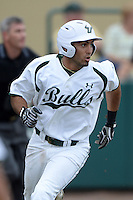 South Florida Bulls outfielder Michael Arencibia (35) during a game against the Florida State Seminoles on March 5, 2014 at Red McEwen Field in Tampa, Florida.  Florida State defeated South Florida 4-1.  (Mike Janes/Four Seam Images)