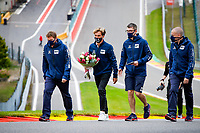 Motorsports: FIA Formula One World Championship, WM, Weltmeisterschaft 2020, Grand Prix of Belgium, 10 Pierre Gasly FRA, Scuderia AlphaTauri Honda with flowers in memory of Anthoine Hubert FRA, who died during an F2 accident in 2019