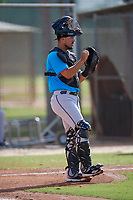 Miami Marlins catcher Santiago Chavez (91) during a Minor League Spring Training Intrasquad game on March 28, 2019 at the Roger Dean Stadium Complex in Jupiter, Florida.  (Mike Janes/Four Seam Images)