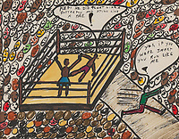 BNPS.co.uk (01202) 558833. <br /> Pic: Bonhams/BNPS<br /> <br /> Pictured: The marquee lot in the 28 painting collection was 'Sting Like A Bee' (1978), his depiction of his victory over Sonny Liston. It sold for £312,000, a record for an Ali original painting. <br /> <br /> Packs a punch..<br /> <br /> Incredibly rare art work by Muhammad Ali has sold for almost £700,000 ($945,000) following a bidding war.<br /> <br /> The legendary heavyweight boxer was a passionate artist and produced a series of works documenting key milestones in his life.<br /> <br /> They proved a knock-out success with collectors, with some examples going for up to 10 times their pre-sale estimate.