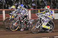 Heat 7: Chris Holder (red), Rory Schlein (blue), Scott Nicholls (white) and Darcy Ward (yellow) - Lee Richardson Memorial Speedway Meeting at Arena Essex Raceway, Purfleet - 28/09/12 - MANDATORY CREDIT: Gavin Ellis/TGSPHOTO - Self billing applies where appropriate - 0845 094 6026 - contact@tgsphoto.co.uk - NO UNPAID USE.