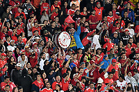 BOGOTÁ-COLOMBIA, 22-08-2019: Hinchas de América de Cali, animan a su equipo durante partido de la fecha 7 entre Independiente Santa Fe y América de Cali, por la Liga Águila II 2019, jugado en el estadio Nemesio Camacho El Campín de la ciudad de Bogotá. / Fans of America de Cali, cheer for their team during a match of the 7th date between Independiente Santa Fe and America de Cali, for the Aguila Leguaje II 2019 played at the Nemesio Camacho El Campin Stadium in Bogota city, Photo: VizzorImage / Luis Ramírez / Staff.