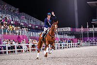 AUS-Andrew Hoy and Vassily de Lassos take Bronze during the Medal Ceremony for the Eventing Individual. Tokyo 2020 Olympic Games. Monday 2 August 2021. Copyright Photo: Libby Law Photography