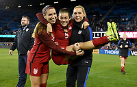 San Jose, CA - Sunday November 12, 2017: Alex Morgan, Kelley O'Hara, Allie Long during an International friendly match between the Women's National teams of the United States (USA) and Canada (CAN) at Avaya Stadium.