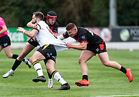 Jacob Jones of London Broncos and Rian Horsman of London Broncos  during the Betfred Challenge Cup match between London Broncos and York City Knights at The Rock, Rosslyn Park, London, England on 28 March 2021. Photo by Liam McAvoy.