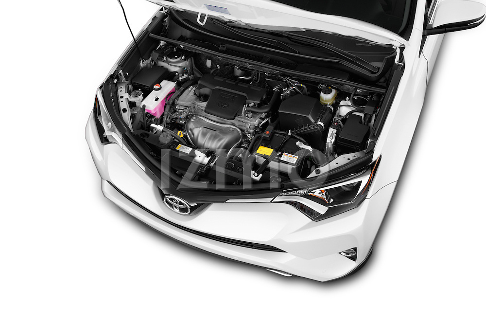 Car Stock 2018 Toyota RAV4 Limited 5 Door SUV Engine  high angle detail view