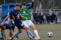 Jonty Roubos of the Wairarapa United competes for the ball with Cory Vickers of the North Wellington FC during the Central League Football -  North Wellington FC v Wairarapa United at Alex Moore Park ( Alex Moore Artificial) / Johnsonville / New Zealand on Saturday 29 May 2021.<br /> Copyright photo: Masanori Udagawa /  www.photosport.nz
