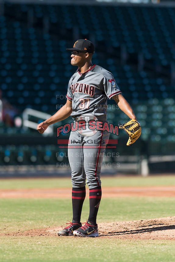 Salt River Rafters starting pitcher Jon Duplantier (31), of the Arizona Diamondbacks organization, during an Arizona Fall League game against the Mesa Solar Sox at Sloan Park on October 30, 2018 in Mesa, Arizona. Salt River defeated Mesa 14-4 . (Zachary Lucy/Four Seam Images)