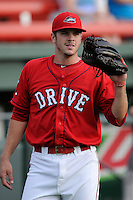 Designated hitter Danny Bethea (26) of the Greenville Drive warms up before a game against the Savannah Sand Gnats on Friday, August 22, 2014, at Fluor Field at the West End in Greenville, South Carolina. Greenville won, 6-5. (Tom Priddy/Four Seam Images)