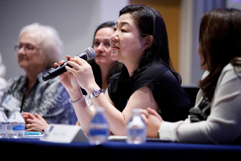 Jung Kwak speaks during the panel discussion at the 11th USA International Harp Competition at Indiana University in Bloomington, Indiana on Friday, July 12, 2019. (Photo by James Brosher)